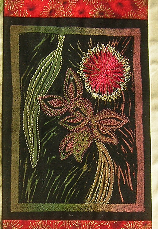 Thread painting over Hakea lino cut