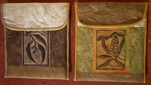 quilted covers with lino-cuts
