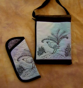 Lyrebird bag and case.